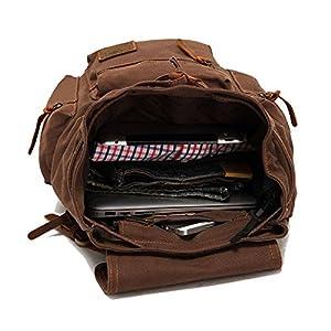 5162h0op7DL. SS300  - Mochila de cuero estilo retro, unisex, ideal para colegio, senderismo, viajes, color café