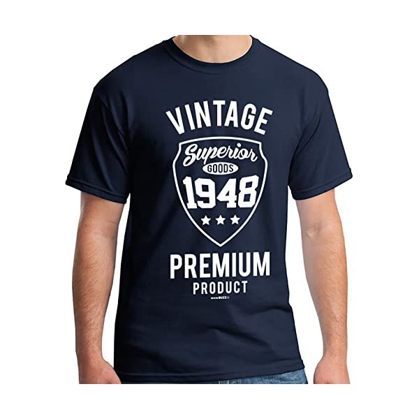 70th Birthday Gifts for Men Vintage 1949 T-Shirt Navy Blue 5162h93mxWL