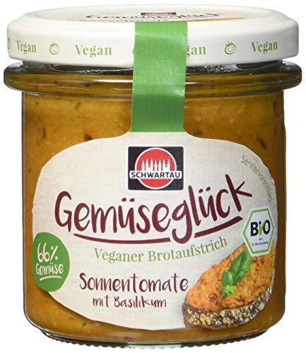 Schwartau Gemüseglück Sonnentomate mit Basilikum, veganer Brotaufstrich, BIO, 6er Pack (6 x 135g Glas)