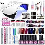 Saint-Acior kit 10pc semipermanente unghie 36W bianca lampada UV fornetto LED set di 10 colori gel ricostruzione unghie completo
