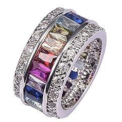 Idea Regalo - Anello in argento 925, con morganite, topazio blu, ametista rossa, rubino, Kunzite rosa, acquamarina, argento, 56 (17.8), cod. KR07