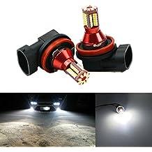 FEZZ LED Bombillas de Coche Auto LED H9 H11 3014 57SMD Lamparas Iluminación Para faros antiniebla DRL 6000K Blanco (Paquete de 2)