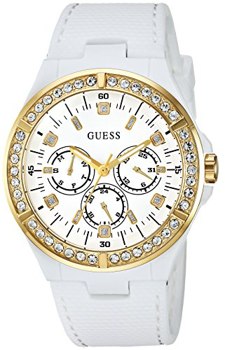 GUESS Women's Stainless Steel Silicone Crystal Accented Watch, Color: White/Gold-Tone (Model: U1093L1)