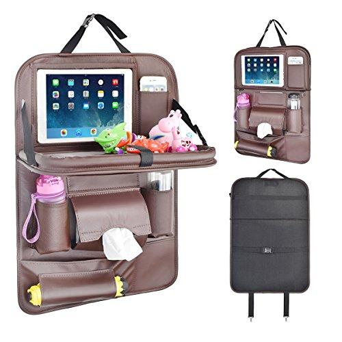 Rückenlehnenschutz Auto, Autositzschoner Rückenlehne Kinder Auto-Organizer mit Faltbares iPad-Tablet-Halter, Tablett Multi-Pocket Sitzschoner (1 Pack-Braun) - Braun Mittagessen Tasche
