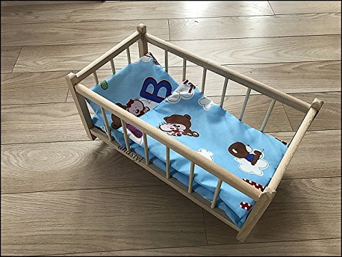 """Preisvergleich Produktbild """"Prinzessin"""" Puppenbett aus Holz mit Zubehör Bettwäsche SET Puppen Bettzeug (8)"""