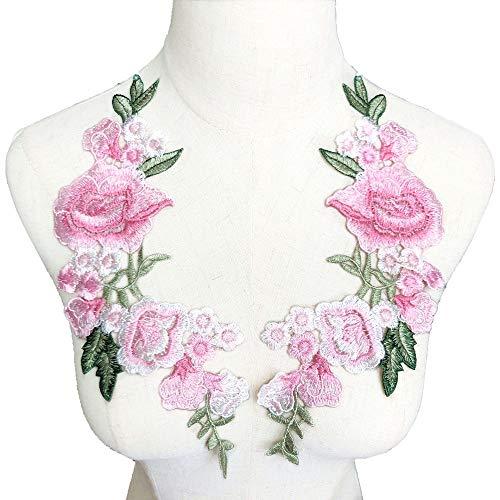Dreamshome 2 Stück Stickerei Rose Blume Patch Badge Nähen Stoff Trim Motiv Hochzeit Kleid Braut DIY Applikation Craft Rose Motiv Trim