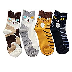 Ksocks 3 to 6 pairs of Women's Sweet Animal Cotton Blend Socks Set One Size Fits All