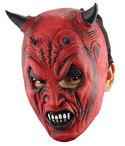 Glenmore Latex Maske Halloween Maske Horror Maske Rot Herren (Masken Dämon Halloween)