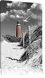 Leuchtturm mit Möwe an Strandweg schwarz/weiß Format: 80x60 auf Leinwand, XXL riesige Bilder fertig gerahmt mit Keilrahmen, Kunstdruck auf Wandbild mit Rahmen, günstiger als Gemälde oder Ölbild, kein Poster oder Plakat