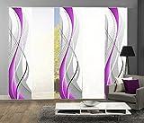 wohnfuehlidee 5er-Set Flächenvorhang, Deko blickdicht, WUXI, Höhe 245 cm, 3x Dessin/2x uni transparent, Fb. beere/weiß