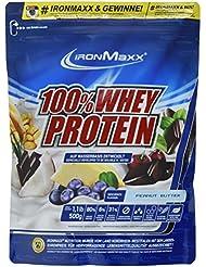 IronMaxx 100% Whey Protein Pulver / Eiweißpulver mit 100% Proteinkonzentrat / Wasserlösliches Fitness Pulver mit Erdnussbutter Geschmack / 1 x 500 g Beutel