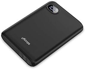 DIVI Externer Akku 10000mAh, Kompakte Powerbank Handy Ladegerät Power Bank Pack mit Hohe Kapazität 2 USB Ausgängen für iPhone, iPad, Samsung Galaxy und Viele Mehr (Schwarz)