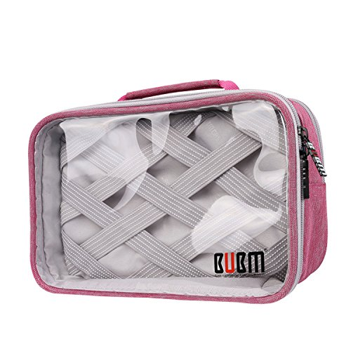 bubm-rectangle-clear-travel-gear-organiser-electronics-accessories-bag-rose-red-2-layers