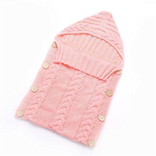 zhouba Neugeborene Baby Infant Knit Crochet Pucksack Einschlagdecke Knopfverschluss Schlafsack