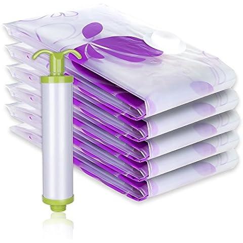 lavavida Sacchetti Sottovuoto, Confezione da 5sacchetti salvaspazio, spessa e flessibile, Bonus grande hand-pump, 80 X 110 CM