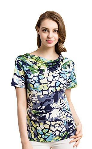 Tulpen Damen Seide Kurzarm T-Shirt Unterhemd Stoffdruck Oberteil Knit Fabric Gr