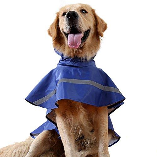 REXSONN® Hoodie Hund Regenmantel Haustier Regenmantel Regenjacke Hunderegenmantel Wasserdicht Kleidung pet Dog Raincoat mit Reflektierende Streifen XS - XL