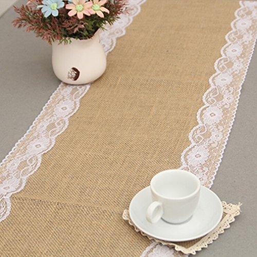 kleinen Lace Hessian Table Natural Hochzeit Dekoration Tischsets Tischdekoration (Weiß) ()