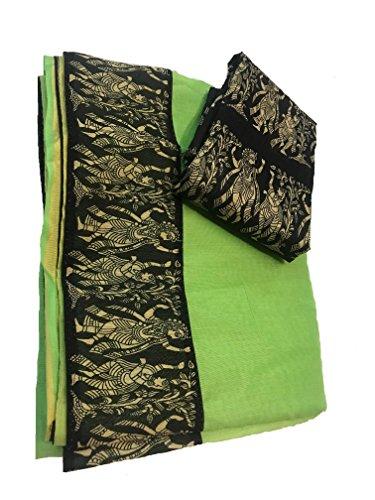 Deepjyoti Creation Women Green Color Chanderi Cotton Saree With Designer Border And...