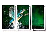 Eisvogel im Wasser - Dreiteiler (120x80 cm) - Bilder & Kunstdrucke fertig auf Leinwand aufgespannt und in erstklassiger Druckqualität