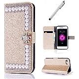 Coque Glitter pour samsung j5 2017 MUTOUREN PU perle brillant Cuir Flip Cover Case Wallet Fonction Support avec Porte cartes Fermeture Magnétique (Gold)