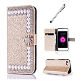 iPhone SE/5/5S Custodia d'oro,MUTOUREN Cover Glitter Bling 3D DIY Diamonte, Magnetico Snap-on Book Style Retro Wallet a Libro in Pelle Custodia Antigraffio Bumper Case Cover per iPhone SE/5/5S - d'oro