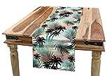 ABAKUHAUS Hawaii Tischläufer, Sommer Palmen Farn, Esszimmer Küche Rechteckiger Dekorativer Tischläufer, 40 x 180 cm, Mehrfarbig