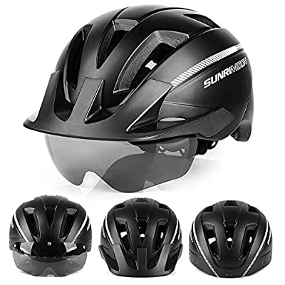 SUNRIMOON Adult Bike Helmet with Rechargeable USB Light, CPSC Certified Road & Mountain Bicycle Helmet with Magnetic Goggles & Detachable Visor Adjustable Size for Men/Women, 20.87-24 Inches from SUNRIMOON