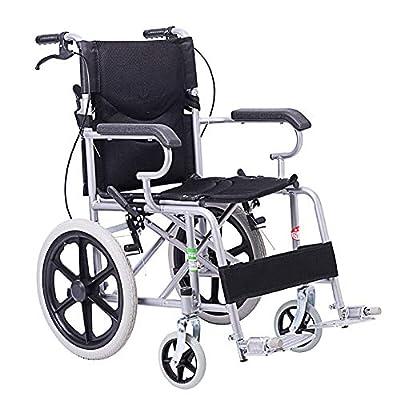 EMOGA Lightweight Expedition Folding Transport Wheelchair 11Kg Portable,40cm Seat,Nursing Brakes And Two-Hand Brake,Black