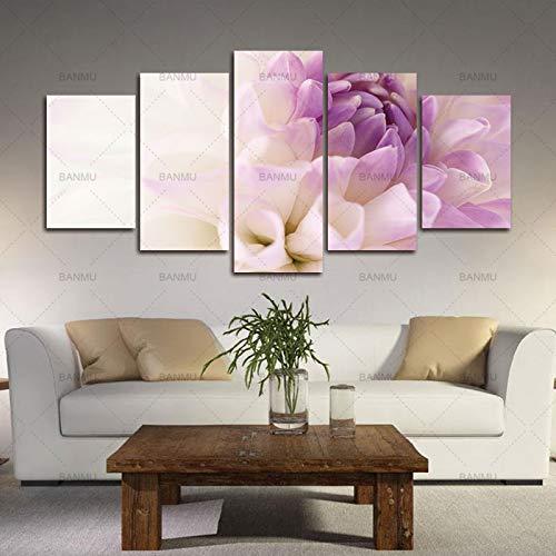 mmwin Leinwand Malerei Wandkunst Bild Modulare Bilder Drucken 5 Stück Lila Blumen auf Wandbilder Wohnzimmer Dekoratives Bild