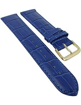 Minott Ersatzband Uhrenarmband Leder Band blau mit Ton-in-Ton Naht mit Alligatorprägung 28372, Stegbreite:16mm...