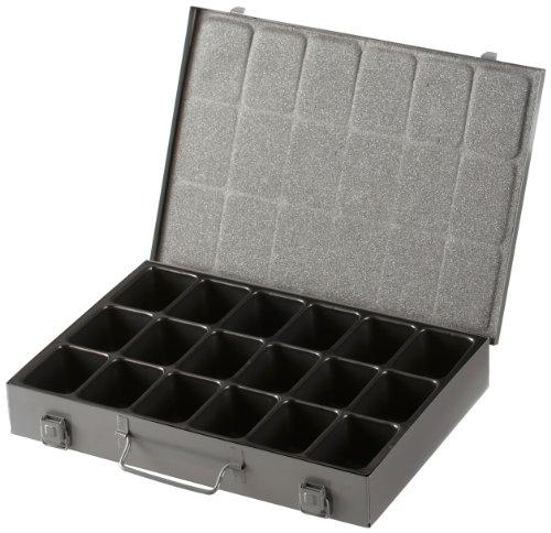 Allit - Cassetta portautensili in metallo con 18 scomparti, con vaschetta in plastica amovibile, colore: Grigio