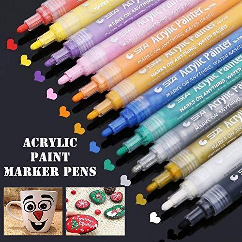 Acrylstifte Markers Stifte, 12 Farben Wasserfest Acrylfarben Marker Set für Steine Scrapbooking DIY...