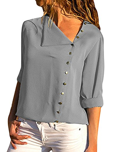 Lantch Womens Solid Long Sleeve Tops T Shirt Casual Button Down Shirts Blouses