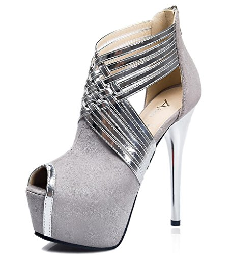 MNII Chaussures pour femmes Hollow Out Flansch Cub Sexy Hin Thin Stiletto Ferse Talons / Peep Toe Heels Party & Abend / Kleid , 38 , gray- Stilvoll und schön