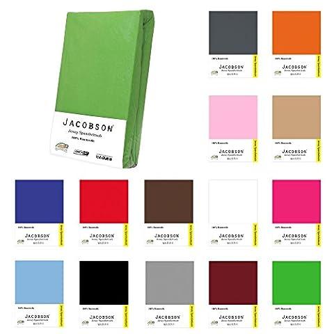 Jacobson Jersey Spannbettlaken Spannbetttuch Baumwolle Bettlaken (60x120 - 70x140 cm, Hellblau)