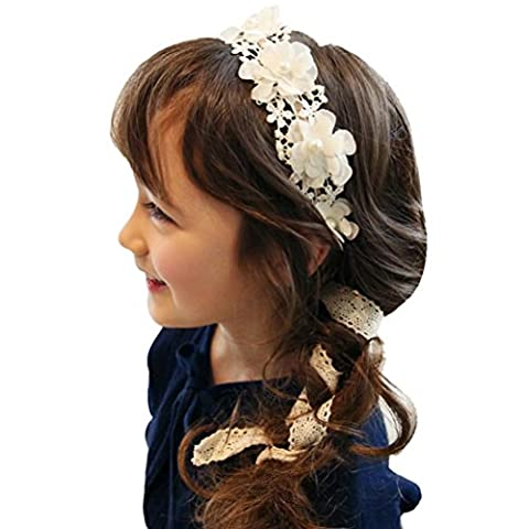 Xmansky Kleine Stirn band Spitze Haarband Mädchen Perle Blume Stirnbänder Haarschmuck (Weiß)