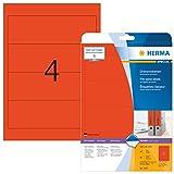 Herma 5097 Farbige Ordnerrücken rot blickdicht, breit/kurz (192 x 61 mm) 80 Ordner Etiketten, 20 Blatt A4 Papier matt, bedruckbar, selbstklebend