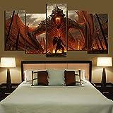 SDZSH 5 Piezas Juego de Tronos Dragon Pintura sobre Lienzo Impresión HD Mural para Decoración del hogar Póster,B,40 * 60 * 240 * 80 * 240 * 100 * 2