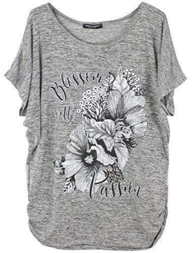 Emma & Giovanni - Sommer T-Shirt/Oberteile Blumen Kurzarm - Damen (Grau, XL/XXL)