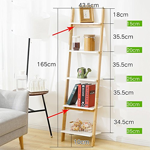 Unbekannt FEI Rack 4-Tier-Bücherregal Weiße Leiter Regal Regal Regal Regale Lehnendes Bücherregal Robust, Modern & Multi-Use für jedes Zimmer Indoor (Farbe : Wood Color+White) (4-tier-bücherregal)