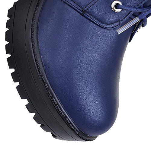 AgooLar Damen Niedrig-Spitze Hoher Absatz Rein Pu Leder Stiefel Blau