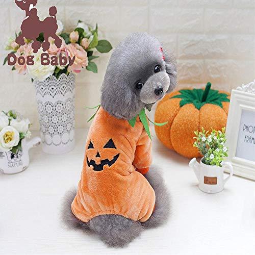 (KOBWA Halloween-Kostüm für Hunde und Katzen, Kürbis-Kostüm, Haustier-Kostüm, Welpen, mit Kapuze, für Herbst und Winter)