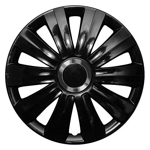 CM DESIGN Viper Gloss Schwarz - 16 Zoll, passend für Fast alle Opel z.B. für Kadett C Limo, City, Aero, Caravan, Coupe -