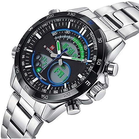 downj Orologio da uomo Casual LED digitale multifunzione militare quarzo orologi - Seiko Moon Watch