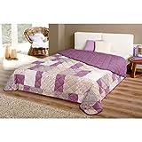 Tagesdecke in vielen Designs, gesteppter Bett- und Sofaüberwurf XXL ( 220x240cm - Patchwork lila )