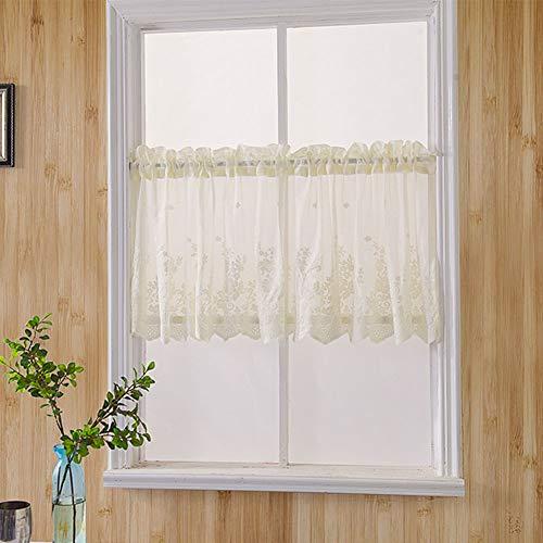 Floral Küchen-Vorhang, hohl, Häkelspitze, Quasten-Vorhänge, Diaphanous Voile im europäischen Landhausstil Fenster Volant Cafe Vorhang, beige, 74x61cm