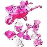 Haunen Strandspielzeug Set mit Großer Schubkarre mit viel Zubehör Förmchen, Schaufel, Harke, und LKW - 9 teiliges Set (Rosa)