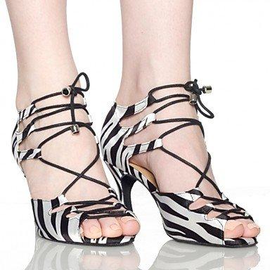Silence @ Chaussures de danse pour femme en satin latine/cuir Stiletto Talon Blanc noir/blanc