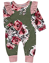 Baby Girl Toddler Unique Floral Print Romper Ruffled Ropa Traje de Manga Larga